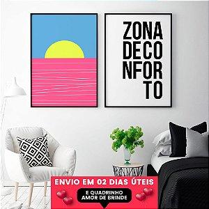 OFERTA Quadros Zona de Conforto + Mar Rosa + Quadrinho Amor, Envio em 2 Dias