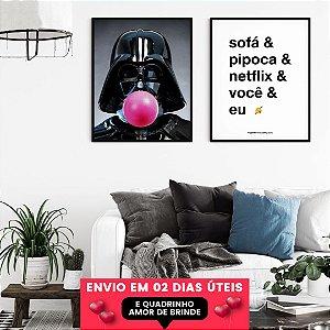 OFERTA Quadros Darth Chiclete + Sofá e Netflix + Quadrinho Amor, Envio em 2 Dias