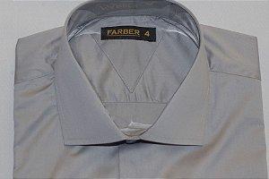Camisa Slim Manga Longa Cinza Algodão Fio 100 Acetinado