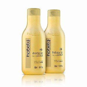 Kit NanoTecno Gold Hobety - Shampoo e Hidratante - 300 ml
