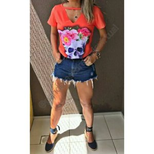 Tshirt Choker Caveira Flores