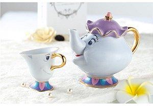 A Bela e a Fera - Conjunto de Chá Chip Xícara + Bule Sr.Potts