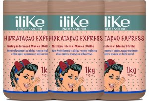 ILike Professional Kit Trio Hidratação Express Máscara - 1kg