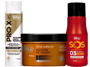 iLike Btox Capilar - 250g + SOS Antiemborrachamento - 300ml + Shampoo Anti-Resíduo - 300ml