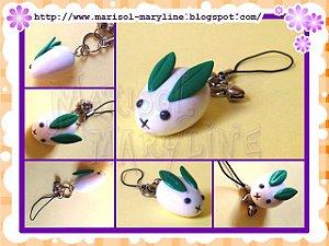 Chaveiro do Gen em forma de coelho de neve - Natsume Yuujinchou