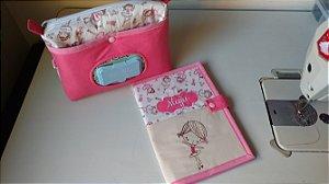Kit necessaire do bebê + capa para caderneta nome e desenho bordados