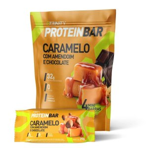 Mini Barrinhas de proteínas Protein Bar Caramelo com Amendoim e Chocolate