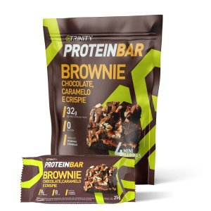 Mini Barrinhas de proteínas Protein Bar Brownie Chocolate e Caramelo