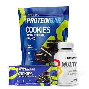 Combo Protein bar barrinha de proteínas cookies e multivitamínico MULTI 60 cápsulas