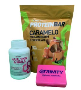 Kit protein bar caramelo e Hair Skin Nails