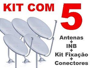 Kit 5 Antenas Banda Ku + 05 Lnb Simples + 10 conectores - FRETE GRÁTIS