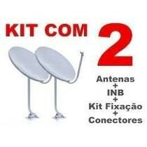 Kit 2 Antenas Banda Ku + 02 Lnb Simples + 04 conectores