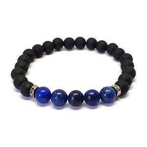 Pulseira Masculina Preta e Azul Pedra Natural Lapis Lazuli