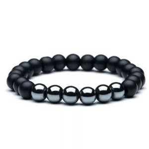 Pulseira Masculina Pedra Natural Hematita and Black