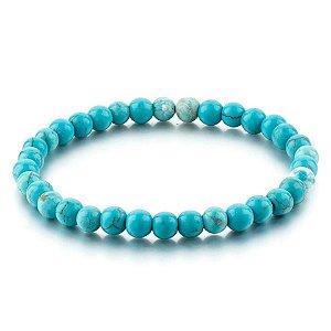 Pulseira Masculina Pedra Natural Turquesa Azul