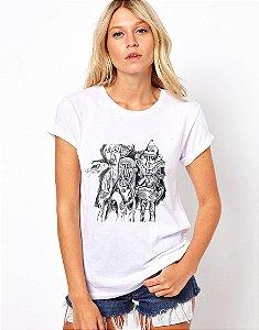 Camiseta Feminina Os 3 profetas do planeta quadrado - branca