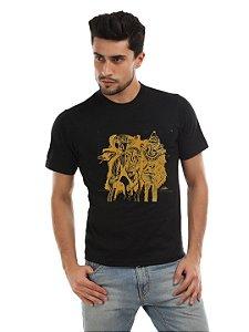 Camiseta Padrão Unissex preta - OS TRÊS PROFETAS DO PLANETA QUADRADO