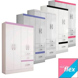 Guarda Roupa Tamis 4 Portas 3 Gavetas Flex Color - Moval