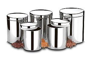 Conjunto de Potes para Mantimentos com Tampa 5 Peças Brinox Suprema