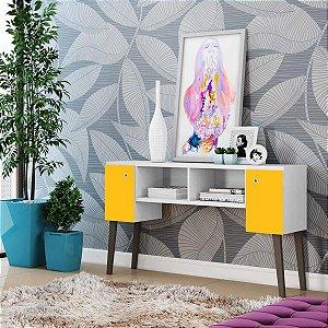 Bancada Para Tv E Aparador 2 Portas Sensação Branco C/ Amarelo - Dupla opção de montagem Albatroz