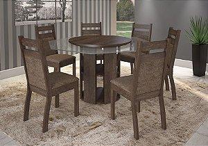 Mesa Sonetto Urca Com tampo Giratório Com 6 Cadeiras