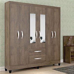 Guarda Roupa Casal com Espelho 6 Portas 2 Gavetas Real Atualle Móveis