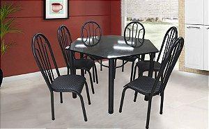 Mesa Velgo Sextavada com 6 Cadeiras Grécia - Preto