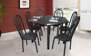 Mesa Velgo Sextavada com 6 Cadeiras Grécia - Preto com Cinza