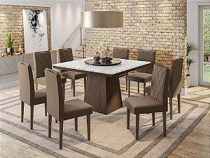 Mesa New Ceval Melissa 135X135 + 8 cadeiras New Ceval Isabela castanho