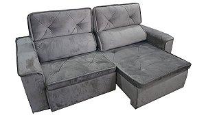 Sofá Centro Oeste Jade retrátil e reclinavel 2.3 metros cinza
