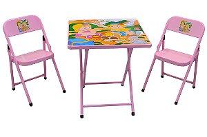 Mesa Metalmix 2 cadeiras Sapeca quadrada rosa