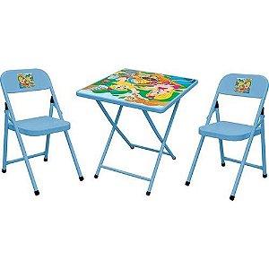 Mesa Metalmix 2 cadeiras Sapeca quadrada azul
