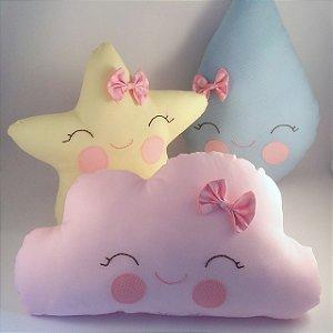 """Almofadas trio """"Nuvem, gotinha e estrela"""""""