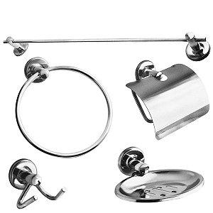 Kit acessórios para banheiro Start 5 peças Metal Cromado Kimetais