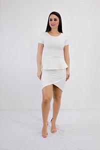 Blusa off white Peplum de Bandagem