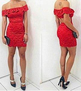 Vestido de renda ciganinha Vermelho