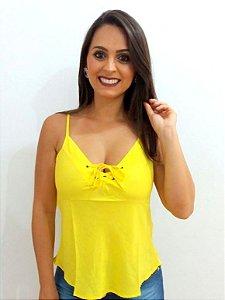 Regatinha de Viscose com ilhós Amarela