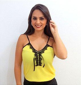 Regatinha de Crepe com Renda Amarela