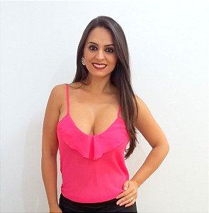 Blusa Pink Chifon com babado