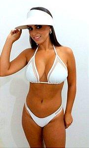 Biquíni branco com tule