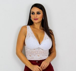 Top Cropped renda alça grossa