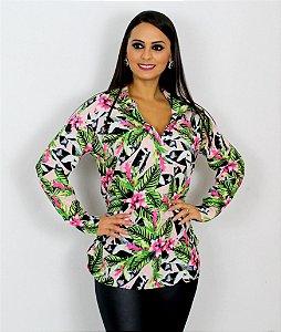 Camisa Bata Estampa 2 Floral Rosa