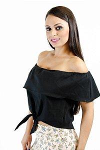 Blusa cropped amarração preta