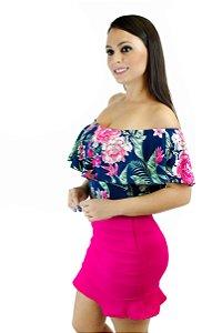 Body babado floral rosa e marinho