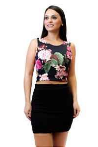 Cropped recortes suplex floral rosa e preto