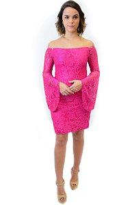 Vestido ombro a ombro renda manga evasê pink