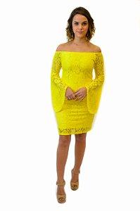 Vestido ombro a ombro renda manga evasê amarelo