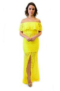 Vestido longo renda babado e fenda frente amarelo