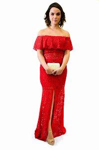 Vestido longo renda babado e fenda frente vermelho