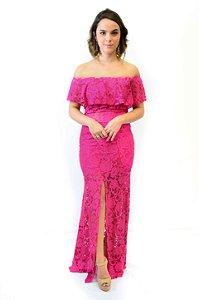 Vestido longo renda babado e fenda frente pink